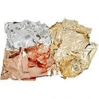 Foglia di metallo imitazione, 16x16 cm, rame, oro, argento, 3x50 fgl./ 1 conf.