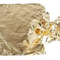 Foglia di metallo imitazione, 16x16 cm, oro, 25 fgl./ 1 conf., 0,625 m2