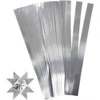 Scrisce di carta per stelle Froebel, L: 45 cm, L: 10 mm, diam: 4,5 cm, argento, 100 strisce/ 1 conf.