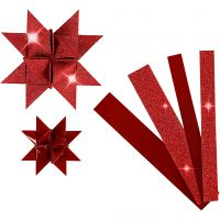 Strisce di carta per stelle , L: 44+78 cm, diam: 6,5+11,5 cm, L: 15+25 mm, glitter,vernice, rosso, 40 strisce/ 1 conf.