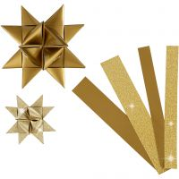 Strisce di carta per stelle , L: 44+78 cm, diam: 6,5+11,5 cm, L: 15+25 mm, glitter,vernice, oro, 40 strisce/ 1 conf.