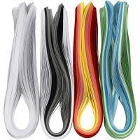Strisce quilling, L: 78 cm, L: 5 mm, 120 g, colori asst., 12x100 pz/ 1 conf.