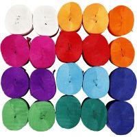 Strisce di carta crespa, L: 20 m, L: 5 cm, 22 g, colori asst., 20 rot./ 1 conf.