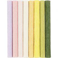 Carta crespa, 25x60 cm, Proporzione: 180%, 105 g, colori pastello, 8 fgl./ 1 conf.