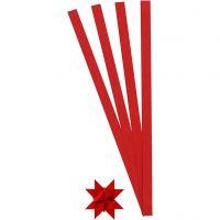 Scrisce di carta per stelle Froebel, L: 45 cm, L: 10 mm, diam: 4,5 cm, rosso, 100 strisce/ 1 conf.