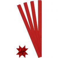 Scrisce di carta per stelle Froebel, L: 45 cm, diam: 6,5 cm, L: 15 mm, rosso, 100 strisce/ 1 conf.