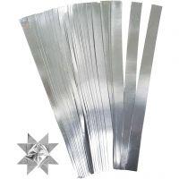 Scrisce di carta per stelle Froebel, L: 45 cm, diam: 6,5 cm, L: 15 mm, argento, 100 strisce/ 1 conf.