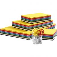 Set cartoncino colorato Kraft e forbici per bambini, A3,A4,A5,A6, 180 g, colori asst., 1 set