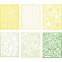 Blocco con cartoncini fantasia merlettati, A6, 104x146 mm, 200 g, verde, verde chiaro, giallo, giallo chiaro, 24 pz/ 1 conf.