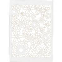Cartoncino con motivo a pizzo, 10,5x15 cm, 200 g, bianco, 10 pz/ 1 conf.