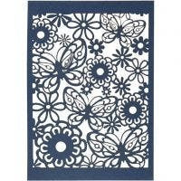 Cartoncino con motivo a pizzo, 10,5x15 cm, 200 g, blu, 10 pz/ 1 conf.