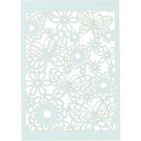 Cartoncino con motivo a pizzo, 10,5x15 cm, 200 g, azzurro, 10 pz/ 1 conf.