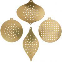 Carta per punto croce, ornamento di natale, H: 8,5-12 cm, misura buco 3 mm, oro metallico, 8 pz/ 1 conf.