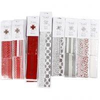 Strisce di carta per stelle, L: 45+86+100 cm, diam: 6,5+11,5+18 cm, L: 15+25+40 mm, nero, rosso, argento, bianco, 18 conf./ 1 conf.