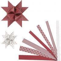 Strisce di carta per stelle, L: 44+78 cm, diam: 6,5+11,5 cm, L: 15+25 mm, rosso, bianco, 60 strisce/ 1 conf.