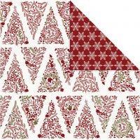 Carta fantasia, alberi di Natale e cristalli di ghiaccio, 30,5x30,5 cm, 180 g, oro, rosso, bianco, 3 fgl./ 1 conf.