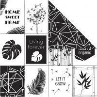 Carta fantasia, foglie e stampe fantasia, 180 g, 5 fgl./ 1 conf.