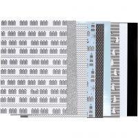Blocco carta fantasia, misura 21x30 cm, 120+128 g, nero, blu, grigio, bianco, 24 fgl./ 1 conf.
