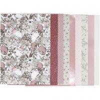 Blocco carta fantasia, misura 21x30 cm, 120+128 g, beige, marrone, rosato, bianco, 24 fgl./ 1 conf.