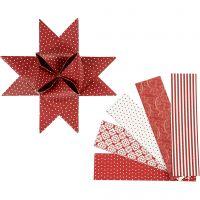Strisce di carta per stelle, L: 100 cm, diam: 18 cm, L: 40 mm, rosso, bianco, 40 strisce/ 1 conf.