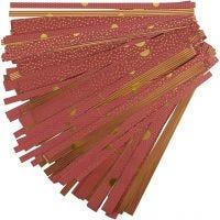 Strisce di carta per stelle, L: 44+78 cm, diam: 6,5+11,5 cm, L: 15+25 mm, oro, rosso, 48 strisce/ 1 conf.