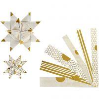 Strisce di carta per stelle, L: 44+78 cm, diam: 6,5+11,5 cm, L: 15+25 mm, oro, bianco, 48 strisce/ 1 conf.