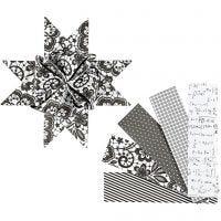 Strisce di carta per stelle, L: 100 cm, diam: 18 cm, L: 40 mm, nero, bianco, 40 strisce/ 1 conf.
