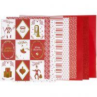 Blocco carta fantasia, misura 21x30 cm, 120+128 g, rosso, bianco, 24 fgl./ 1 conf.