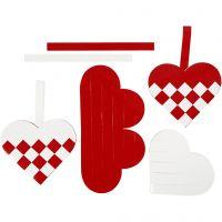 Cuori intrecciati, misura 13,5x12,5 cm, rosso, bianco, 8 set/ 1 conf.