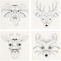 Tela tesata con stampa, animali, misura 20x20 cm, 280 g, bianco, 4 pz/ 1 conf.