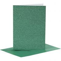 Biglietti e buste, dim. cartoncino 10,5x15 cm, dim. busta 11,5x16,5 cm, glitter, 110+250 g, verde, 4 set/ 1 conf.