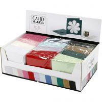 Biglietti e buste, dim. cartoncino 15,2x15,2 cm, dim. busta 16x16 cm, 230 g, colori asst., 12x10 conf./ 1 conf.