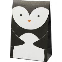 Buste carta, pinguino, H: 18 cm, misura 6x12 cm, 80 g, nero/bianco, 6 pz/ 1 conf.