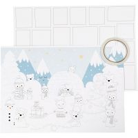 Calendario di Natale, misura 30x42 cm, bianco, 3 pz/ 1 conf.