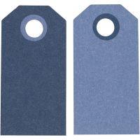 Etichette regalo, misura 6x3 cm, 250 g, blu scuro/azzurro, 20 pz/ 1 conf.