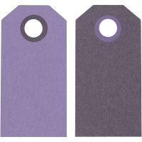 Etichette regalo, misura 6x3 cm, 250 g, viola/viola scuro, 20 pz/ 1 conf.