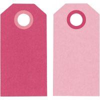 Etichette regalo, misura 6x3 cm, 250 g, rosa/rosato, 20 pz/ 1 conf.
