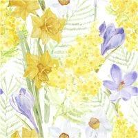 Tovaglioli da tavolo, fiori di primavera, misura 33x33 cm, 20 pz/ 1 conf.
