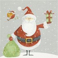 Tovaglioli da tavolo, Babbo Natale con sacco dei regali, misura 33x33 cm, 20 pz/ 1 conf.