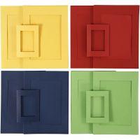 Cornici passepartout, misura A4+A6 , blu, verde, rosso, giallo, 2x60 pz/ 1 conf.
