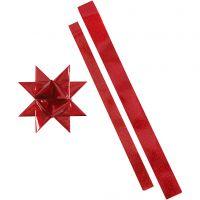 Strisce per stelle, L: 86+100 cm, diam: 11,5+18,5 cm, L: 25+40 mm, rosso, rosso glitter, 16 strisce/ 1 conf.