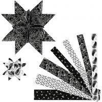 Strisce per stelle di carta, L: 44+78 cm, diam: 6,5+11,5 cm, L: 15+25 mm, nero, argento, 48 strisce/ 1 conf.