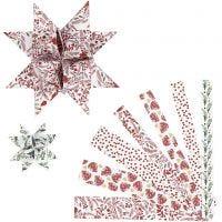 Strisce per stelle di carta, L: 44+78 cm, diam: 6,5+11,5 cm, L: 15+25 mm, rosso, bianco, 48 strisce/ 1 conf.
