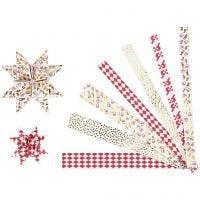 Strisce di carta per stelle, L: 44+78 cm, diam: 6,5+11,5 cm, L: 15x25 mm, oro, rosso, bianco, 48 strisce/ 1 conf.