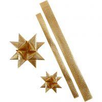 Strisce per stelle, L: 86+100 cm, diam: 11,5+18,5 cm, L: 25+40 mm, oro glitter, 16 strisce/ 1 conf.