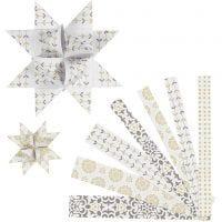 Strisce per stelle di carta, L: 44+78 cm, diam: 6,5+11,5 cm, L: 15+25 mm, oro, bianco, 48 strisce/ 1 conf.