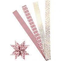Strisce di carta per stelle, L: 100 cm, diam: 18 cm, L: 40 mm, oro, rosso, bianco, 40 strisce/ 1 conf.