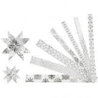 Strisce di carta per stelle, L: 44+78 cm, diam: 6,5+11,5 cm, L: 15+25 mm, argento, bianco, 48 strisce/ 1 conf.