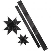 Strisce per stelle, L: 86+100 cm, diam: 11,5+18,5 cm, L: 25+40 mm, nero, 16 strisce/ 1 conf.