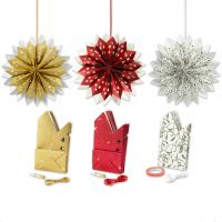 Stella con sacchetti di carta, oro, verde, rosso, bianco, 3x10 conf./ 1 conf.